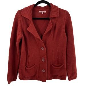 Hekla & Co Italy Wool Cardigan Button Front Red